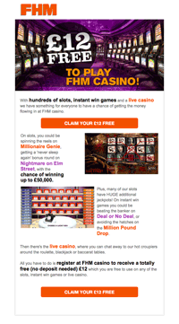 Solus email | FHM casino promotion