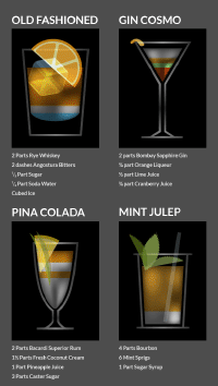 Cocktails illustration for Bacardi / The Debrief
