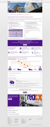 FedEx Freight webpages
