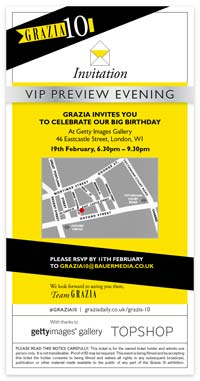Grazia 10 exhibition | VIP invite