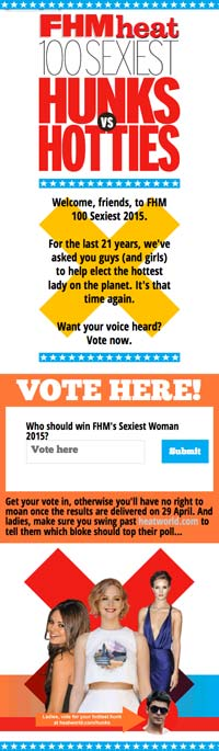 Hunks v Hotties voting site | FHM and Heat