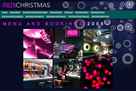 Christmas Menu website | Meza restaurant